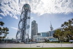 Αλφαβητικός πύργος στις 14 Μαΐου 2017 σε Batumi Καταπληκτική άποψη από το θόριο στοκ φωτογραφία με δικαίωμα ελεύθερης χρήσης