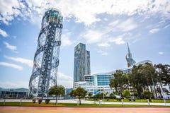 Αλφαβητικός πύργος στις 14 Μαΐου 2017 σε Batumi Καταπληκτική άποψη από το θόριο στοκ εικόνες με δικαίωμα ελεύθερης χρήσης