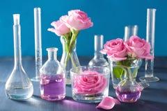 Αλχημεία και aromatherapy σύνολο με τα ροδαλά λουλούδια και τα χημικά flas Στοκ Φωτογραφίες