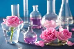 Αλχημεία και aromatherapy σύνολο με τα ροδαλά λουλούδια και τα χημικά flas Στοκ φωτογραφία με δικαίωμα ελεύθερης χρήσης
