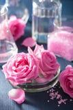 Αλχημεία και aromatherapy σύνολο με το ροδαλές άλας και τη χημική ουσία λουλουδιών Στοκ εικόνες με δικαίωμα ελεύθερης χρήσης