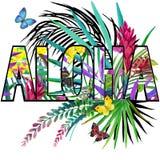 αλόης Σχέδιο πουκάμισων γραμμάτων Τ Aloha Τροπικό watercolor εγκαταστάσεων Στοκ εικόνα με δικαίωμα ελεύθερης χρήσης