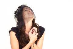 Αλλόφρων δακρυσμένη νέα γυναίκα Στοκ Εικόνα