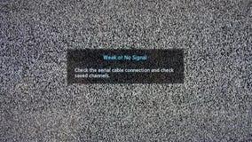 Αδύνατη ή καμία επιγραφή σημάτων στην τηλεοπτική οθόνη με το θόρυβο φιλμ μικρού μήκους