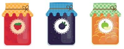 Βάζα γυαλιού της μαρμελάδας με το βακκίνιο, μήλο, σμέουρο Επίπεδο ύφος Στοκ φωτογραφίες με δικαίωμα ελεύθερης χρήσης