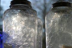 βάζα κυψελών γυαλιού μελισσών Στοκ φωτογραφία με δικαίωμα ελεύθερης χρήσης