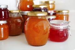 Βάζα με τη διαφορετική γλυκιά μαρμελάδα στοκ εικόνες με δικαίωμα ελεύθερης χρήσης