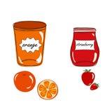 Βάζα με τις μαρμελάδες πορτοκαλιών και φραουλών Στοκ Εικόνα