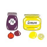Βάζα με τις μαρμελάδες σύκων και λεμονιών Στοκ Φωτογραφία
