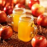 Βάζα του Mason που γεμίζουν με τον καυτό μηλίτη μήλων Στοκ Εικόνα