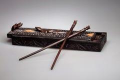 Βάζο για chopsticks με τα ζωικά μοτίβα Στοκ εικόνες με δικαίωμα ελεύθερης χρήσης