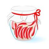 Βάζο γυαλιού με τα παστωμένα πιπέρια E Δοχείο που απομονώνεται στο άσπρο υπόβαθρο διάνυσμα Στοκ Φωτογραφίες