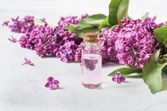 Βάζο γυαλιού με το ροδαλό νερό και ιώδη λουλούδια, διάστημα αντιγράφων για το κείμενο Έννοια για τη SPA και aromatherapy κλείστε  Στοκ Φωτογραφίες