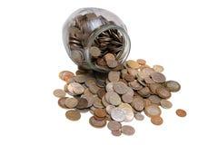 βάζο γυαλιού νομισμάτων π&o Στοκ εικόνες με δικαίωμα ελεύθερης χρήσης
