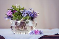 Βάζο γυαλιού με τα φρέσκα δασικά λουλούδια άνοιξη Στοκ φωτογραφία με δικαίωμα ελεύθερης χρήσης