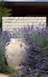 Βάζο ενάντια σε πέτρινο ανάμεσα Lavender Στοκ φωτογραφία με δικαίωμα ελεύθερης χρήσης