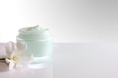 Βάζο κρέμας ανοικτό με το λευκό μπροστινής άποψης λουλουδιών Στοκ Εικόνες