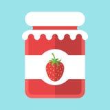 Βάζο μαρμελάδας φραουλών γυαλιού διανυσματική απεικόνιση