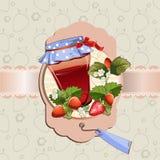 Βάζο μαρμελάδας φραουλών Στοκ Εικόνες