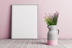 Βάζο με τα λουλούδια στο ρόδινο υπόβαθρο ελεύθερη απεικόνιση δικαιώματος