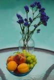 Βάζο με τα λουλούδια και φρούτα από τη λίμνη Στοκ Εικόνες