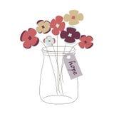 Βάζο του Mason με τα λουλούδια Στοκ Εικόνα