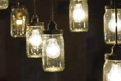 Βάζο Lightbulbs του Mason Στοκ φωτογραφίες με δικαίωμα ελεύθερης χρήσης