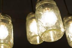 Βάζο Lightbulbs του Mason Στοκ Φωτογραφίες