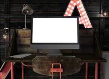 Βάναυσο πρότυπο εργασιακών χώρων στη βιομηχανική σοφίτα Στοκ εικόνες με δικαίωμα ελεύθερης χρήσης