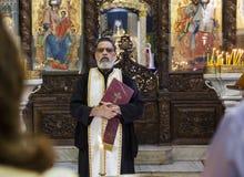 Βάπτισμα παιδιών στη βασιλική Annunciation nazareth Ισραήλ Στοκ Φωτογραφίες