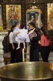 Βάπτισμα παιδιών στη βασιλική Annunciation nazareth Ισραήλ Στοκ φωτογραφίες με δικαίωμα ελεύθερης χρήσης