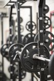Βάρη σε μια γυμναστική Στοκ Εικόνες