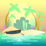 βάρκα απεικόνισης στην ακτή Διανυσματική απεικόνιση