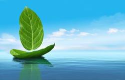 Βάρκα από τα φύλλα διανυσματική απεικόνιση