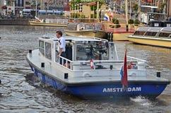 Βάρκα αστυνομίας του Άμστερνταμ στοκ εικόνα με δικαίωμα ελεύθερης χρήσης