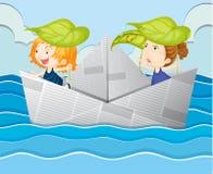 Βάρκα εγγράφου με δύο κορίτσια ελεύθερη απεικόνιση δικαιώματος