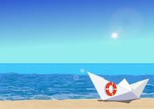 Βάρκα εγγράφου στην παραλία, διανυσματική απεικόνιση Στοκ φωτογραφία με δικαίωμα ελεύθερης χρήσης