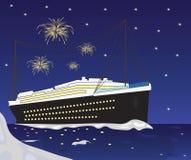 Βάρκα και πυροτεχνήματα κρουαζιερόπλοιων Στοκ Εικόνα