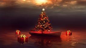 Βάρκα και χριστουγεννιάτικο δέντρο διανυσματική απεικόνιση