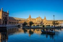 Βάρκα νερού plaza de espana στη Σεβίλη, Ισπανία, Ευρώπη Στοκ Φωτογραφίες