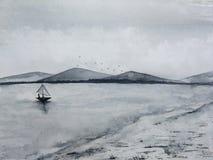 Βάρκα πανιών θαλάσσιου ψαρέματος τοπίων μελανιού Watercolor στα πουλιά ομίχλης βουνών ακτών και νησιών που πετούν στον ουρανό E r ελεύθερη απεικόνιση δικαιώματος