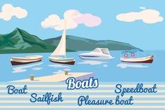 Βάρκα, βάρκα πανιών, σκάφος αναψυχής, λέμβος ταχύτητας, seascape, διάνυσμα, απεικόνιση, που απομονώνεται απεικόνιση αποθεμάτων