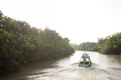 Βάρκα που πλέει με έναν ποταμό της Αμαζώνας Στοκ Φωτογραφίες