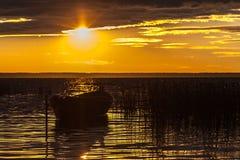 Βάρκα σε μια κίτρινη πτώση Στοκ Φωτογραφία