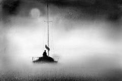 Βάρκα στην ομίχλη διανυσματική απεικόνιση