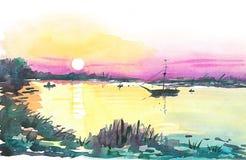 Βάρκα στη λίμνη στο ηλιοβασίλεμα στοκ εικόνες με δικαίωμα ελεύθερης χρήσης