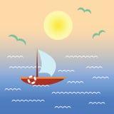 Βάρκα στο νερό ηλιοβασιλέματος Τοπίο με το σκάφος, ωκεανός, ουρανός, ήλιος Στοκ Εικόνες