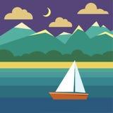 Βάρκα στο νερό Τοπίο νύχτας με το σκάφος, ωκεανός, ουρανός Στοκ εικόνες με δικαίωμα ελεύθερης χρήσης