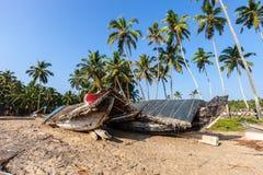 Βάρκα στο υπόβαθρο των φοινίκων στοκ φωτογραφίες με δικαίωμα ελεύθερης χρήσης
