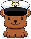 Βάρκα χαμόγελου κινούμενων σχεδίων καπετάνιος Bear Στοκ Εικόνες